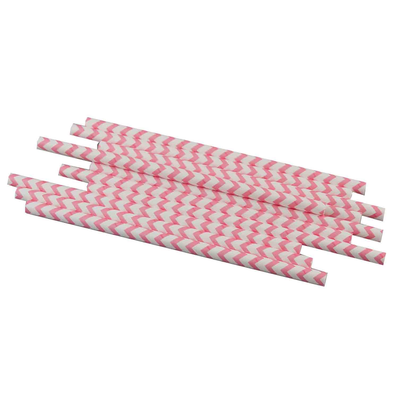 Pink Chevron Paper Straws