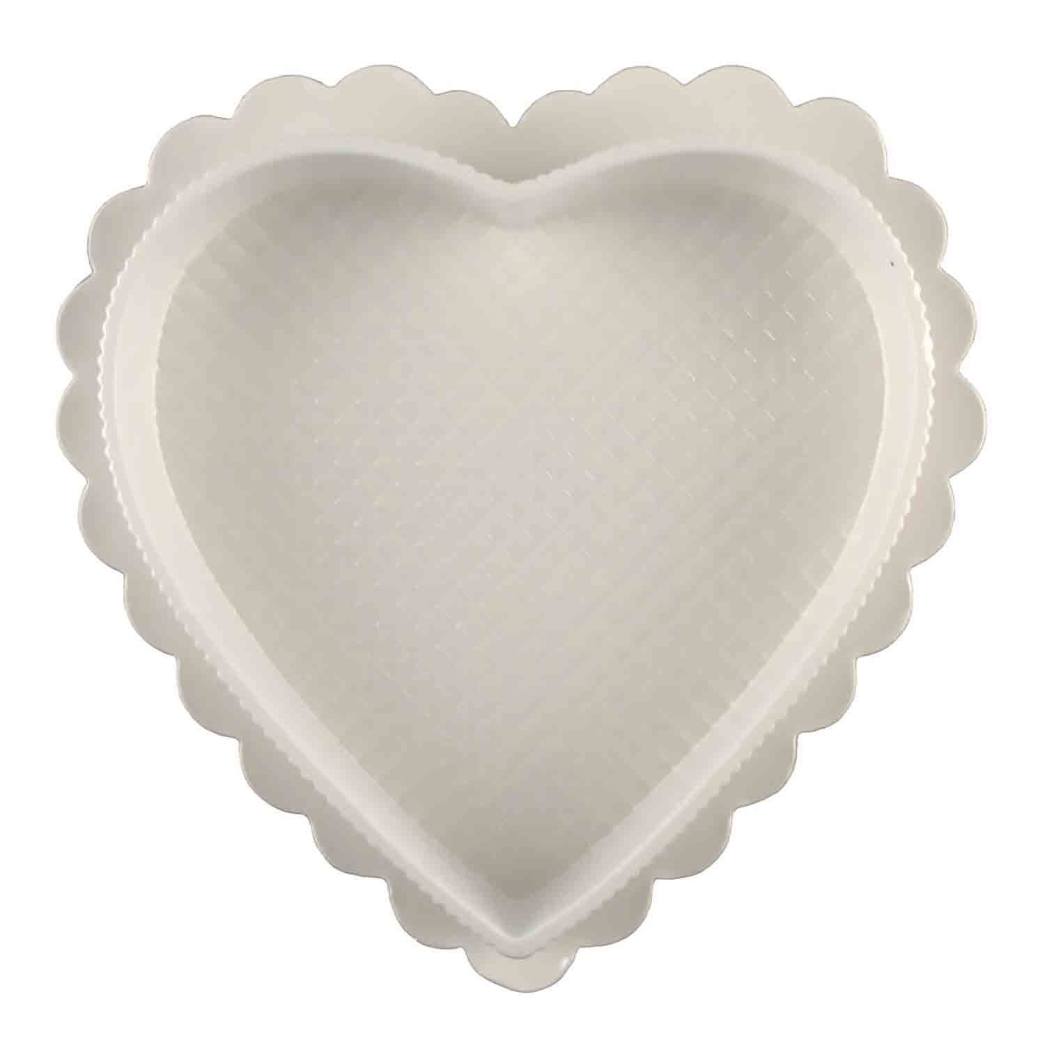 1 lb. White Heart Candy Box with Clear Lid