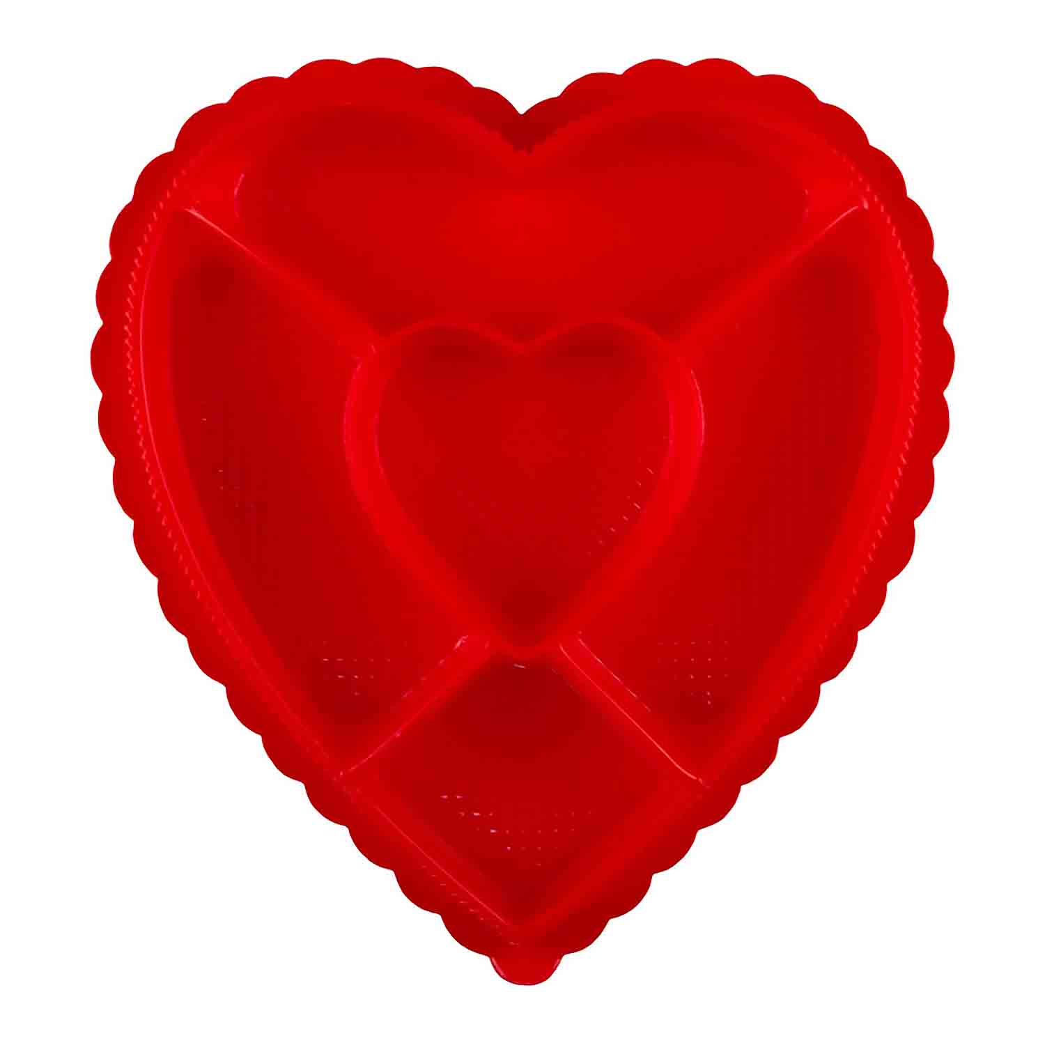 1 lb. Red Heart Sectioned Candy Box with Clear Lid