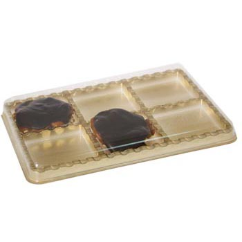 6 Cavity Gold Jewel Candy Box with Clear Lid
