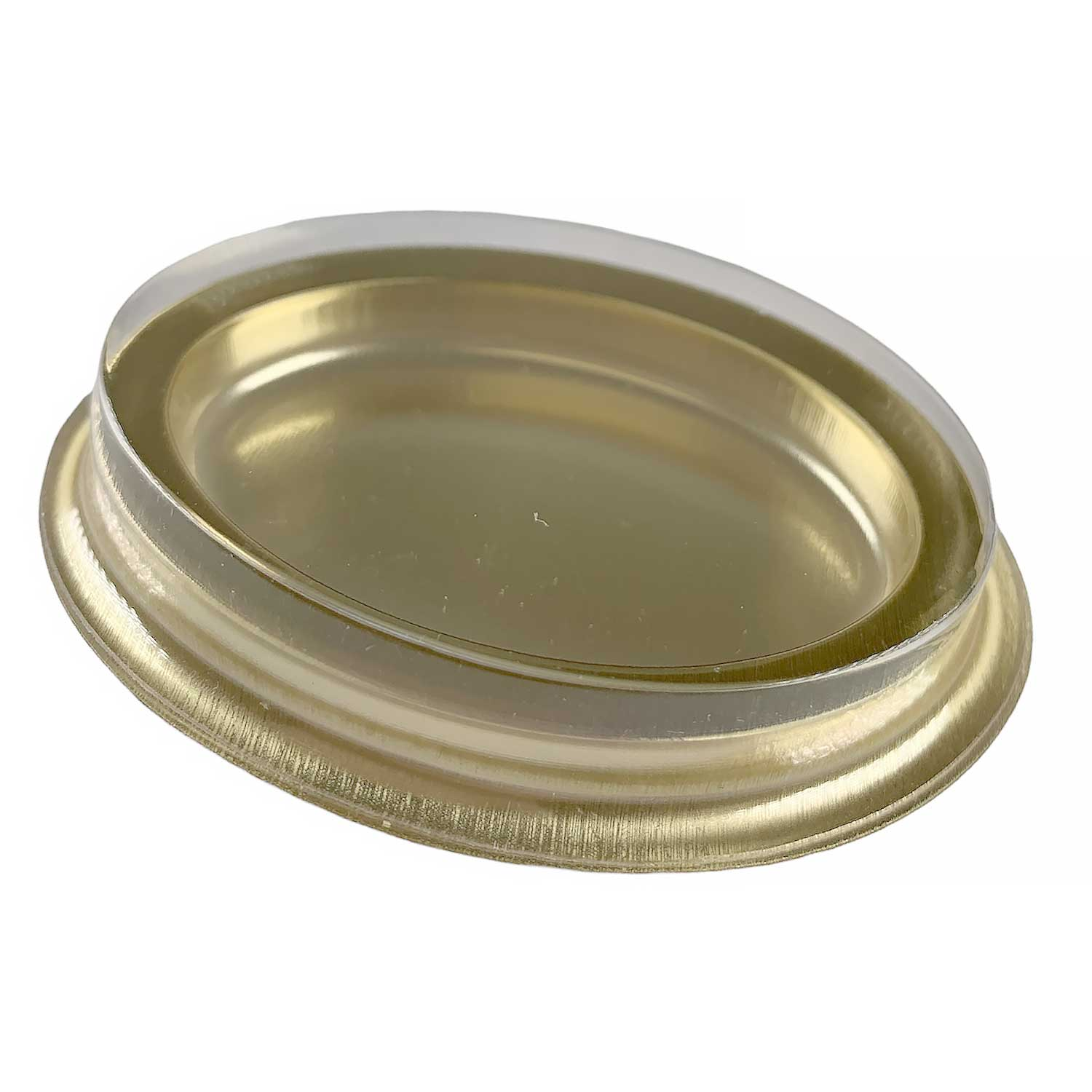 1 Pc. Gold Oval Mint Candy Box with Clear Lid