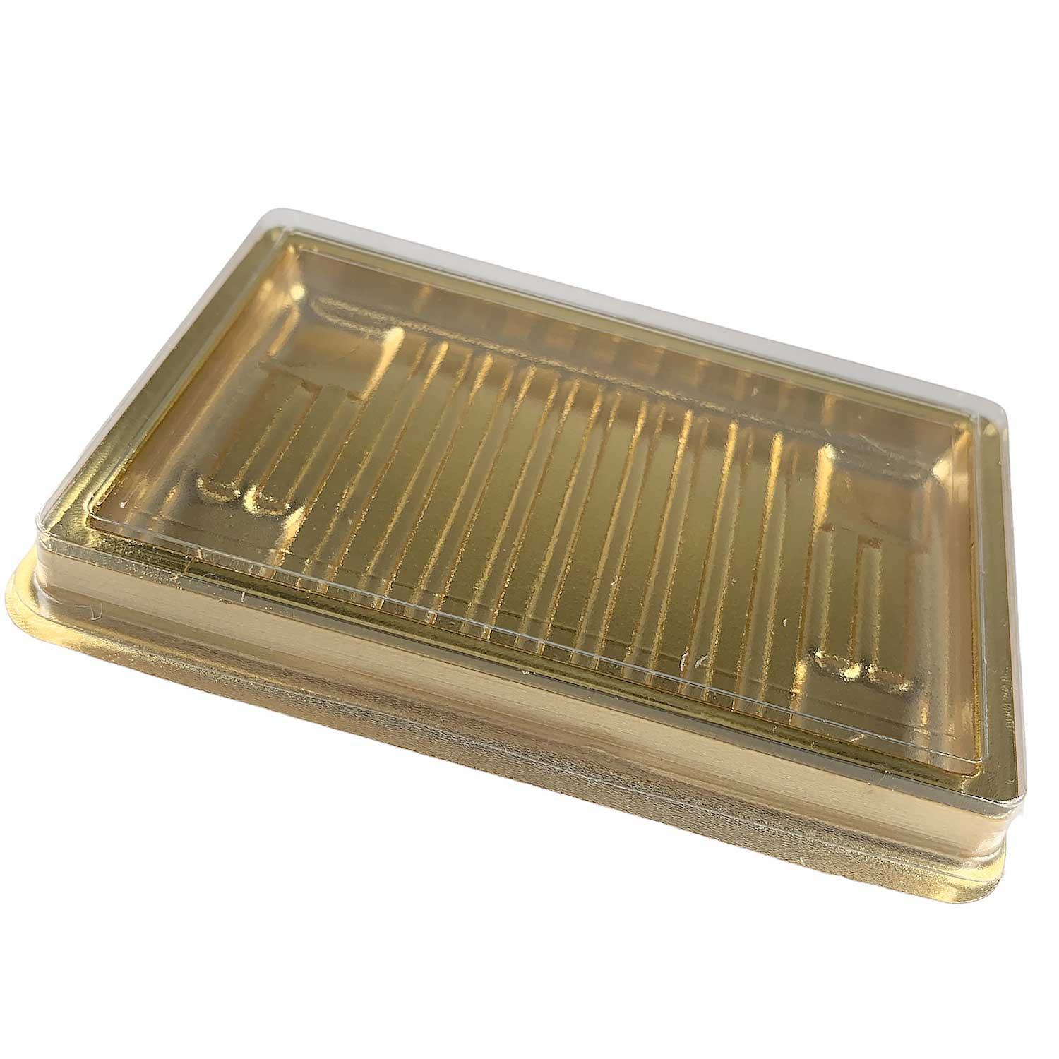 Gold Business Card Candy Box with Clear Lid