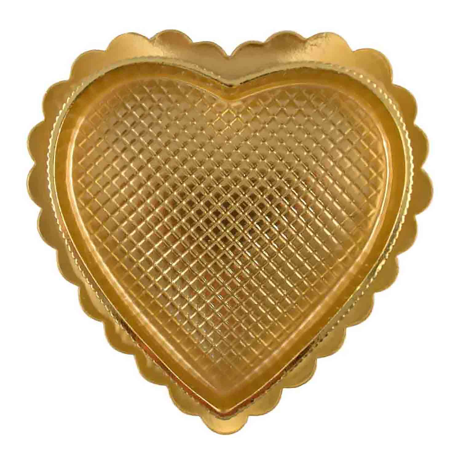 1/4 lb. Gold Heart Candy Box with Clear Lid