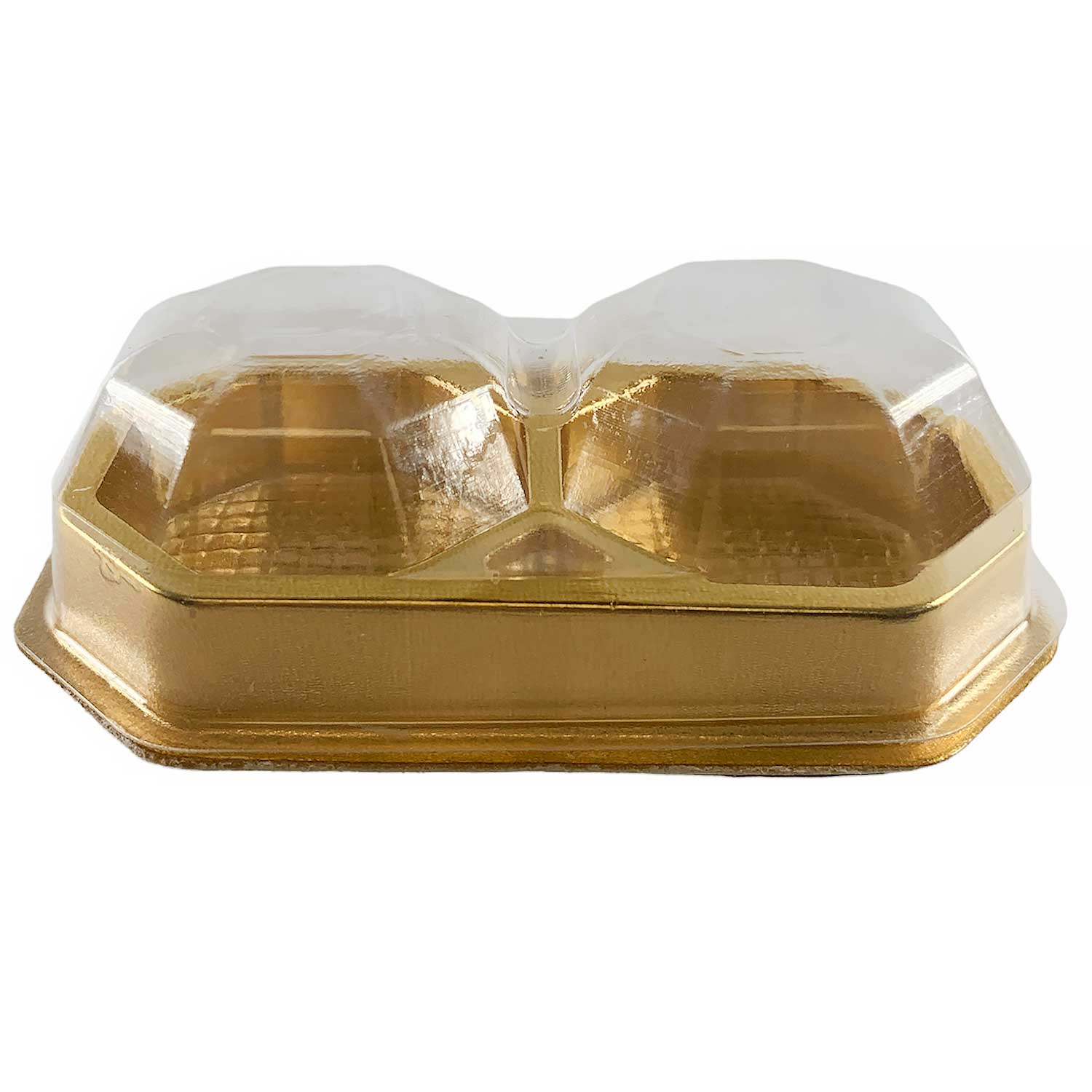 2 Pc. Gold Candy Box with Clear Beveled Lid