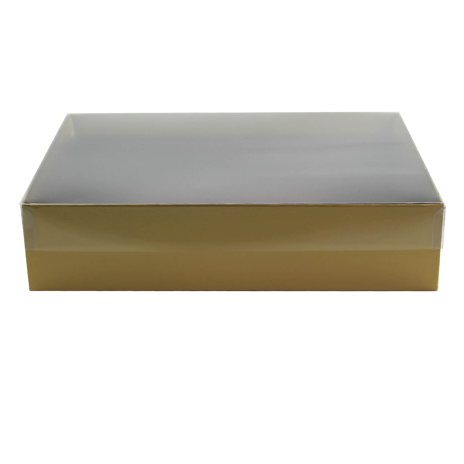 2 lb. Gold Candy Box with Clear Lid