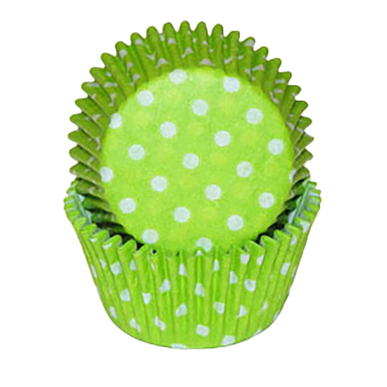 Lime Green Dot Standard Baking Cups