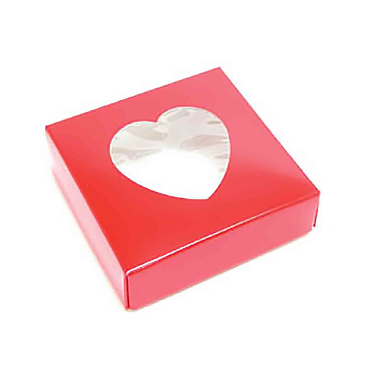 3 oz. Red Candy Box with Heart Window
