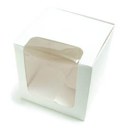 White Cube Candy Apple Box with Window