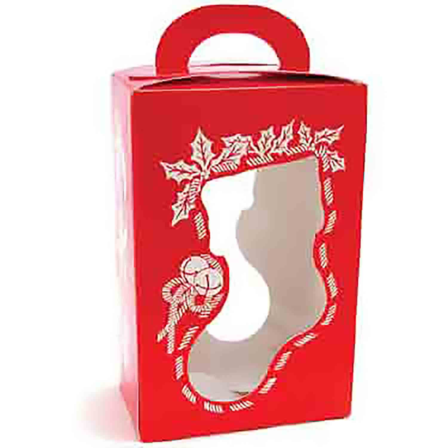 1 lb. Red Christmas Stocking Tote Candy Box with Window
