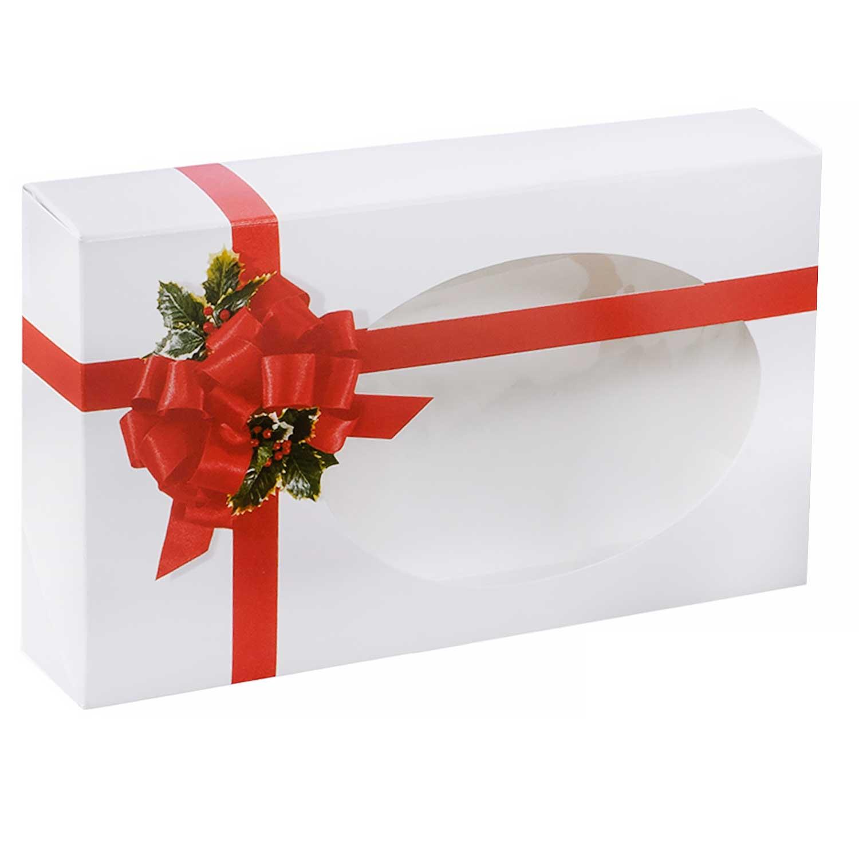 1 lb. Ribbon & Holly Cookie Box