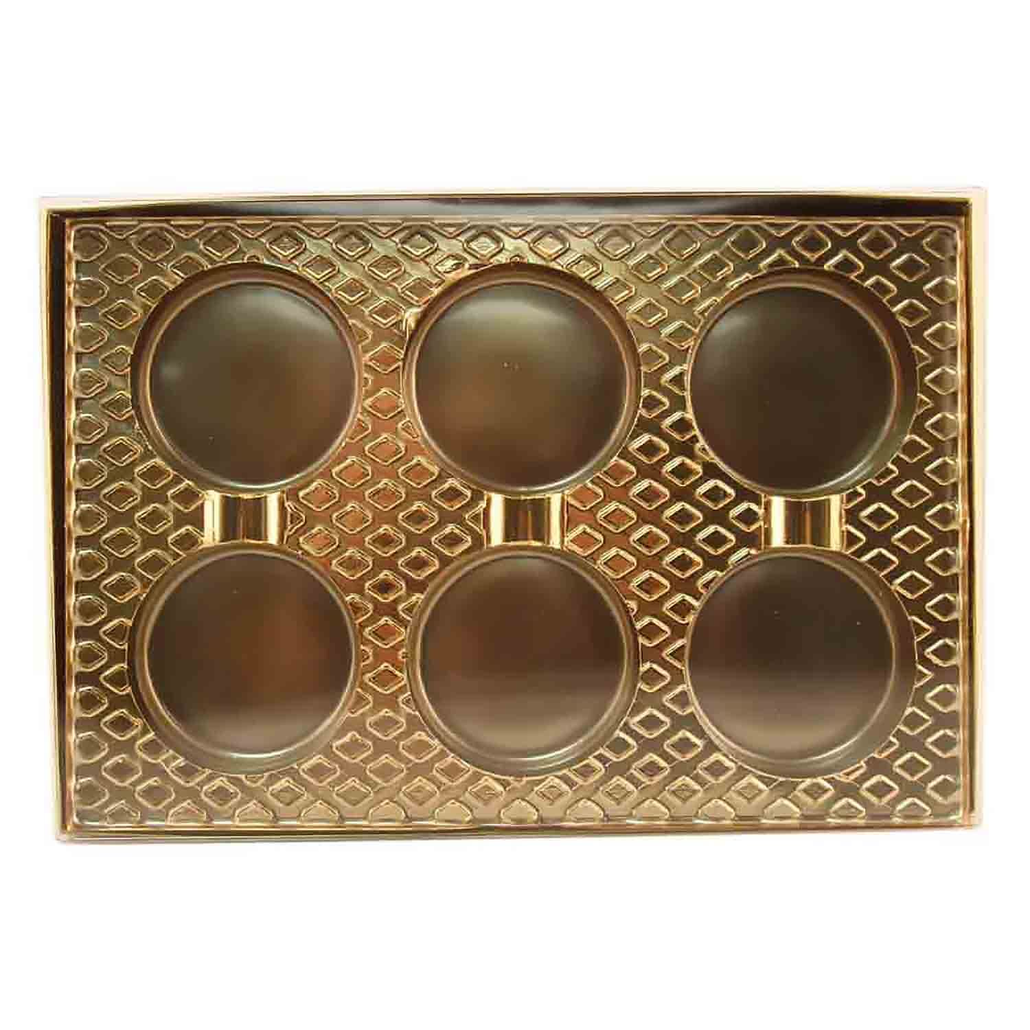 6 Cavity Cookie or Truffle Gold Insert Candy Box with Clear Lid