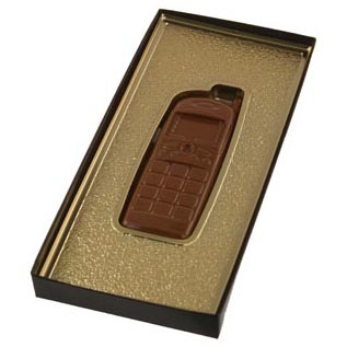 Cell Phone Gold Insert Candy Box with Clear Lid
