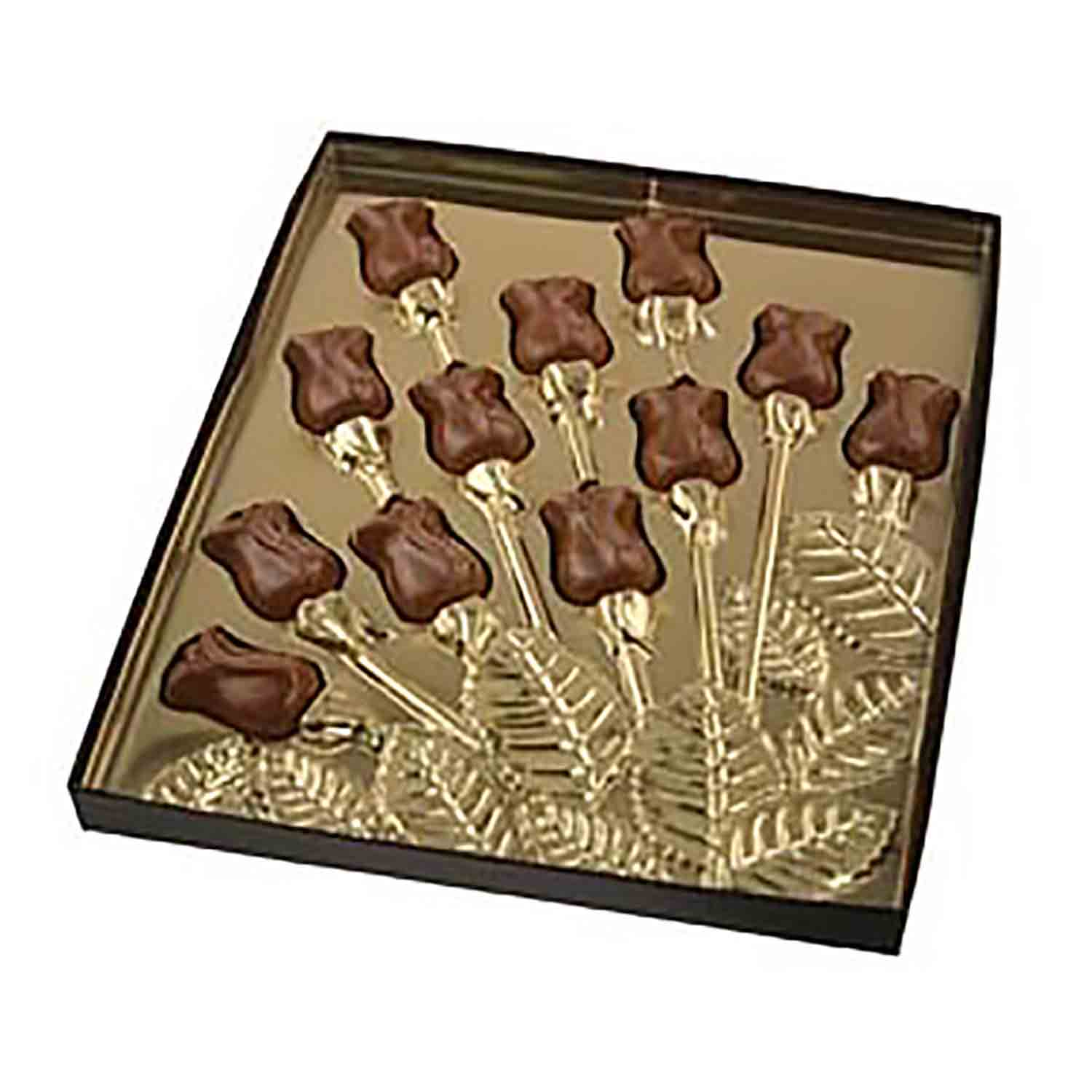 Rosebud Spray Gold Insert Candy Box with Clear Lid