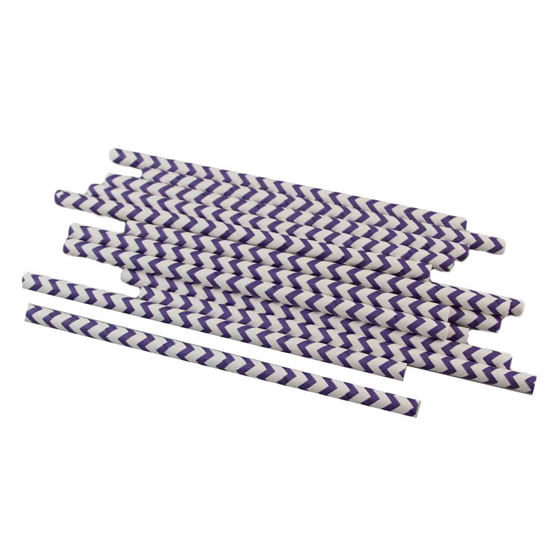 Purple Chevron Paper Straws