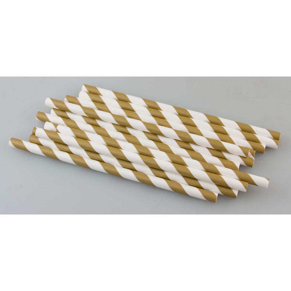 Gold Stripe Paper Straws