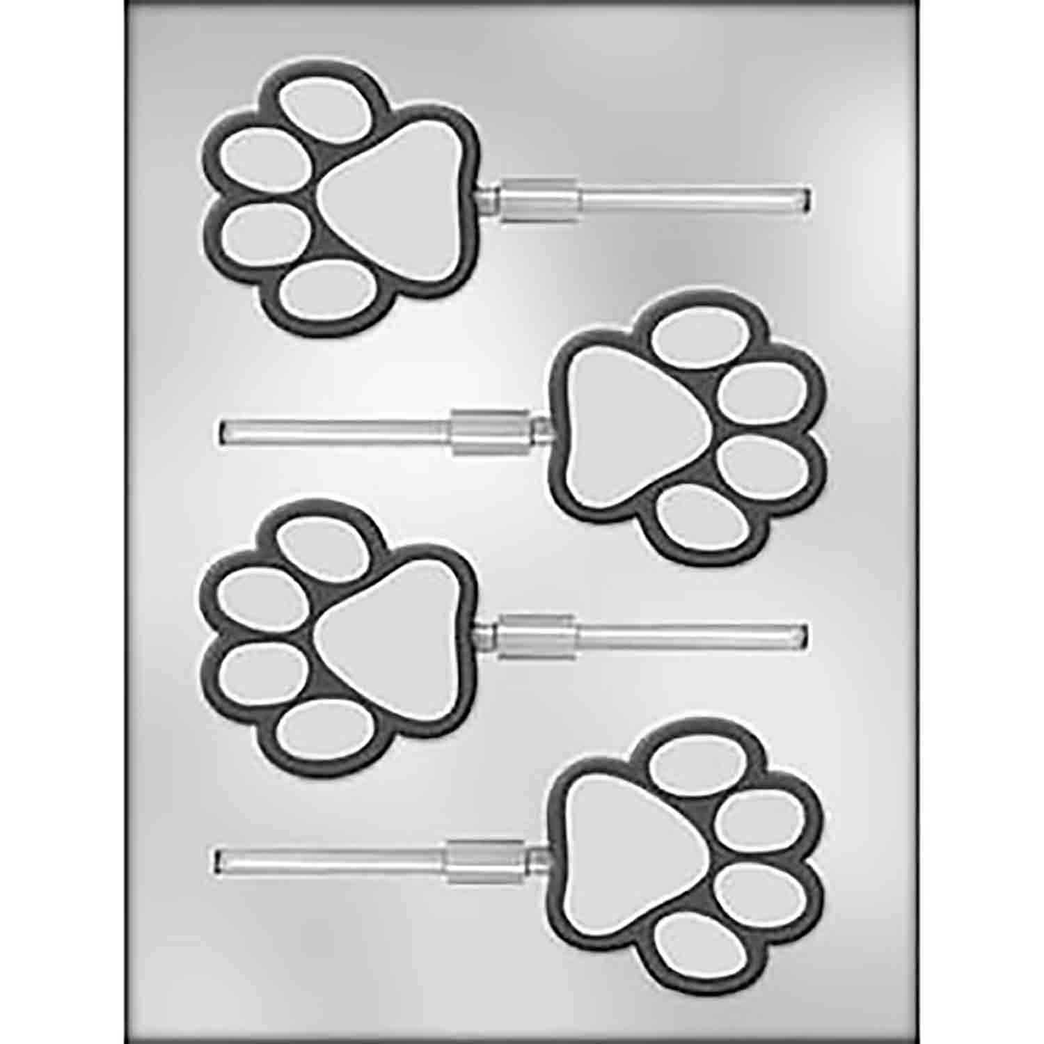 Paw Print Sucker Chocolate Candy Mold