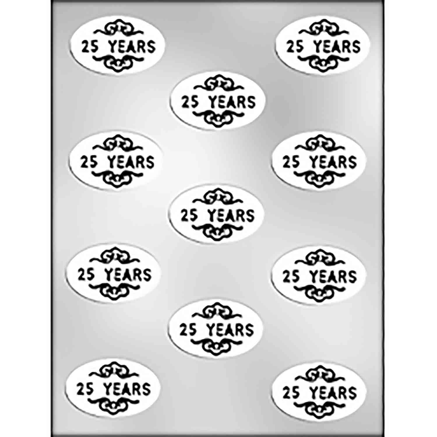 """25 YEARS"" on Oval Chocolate Candy Mold"