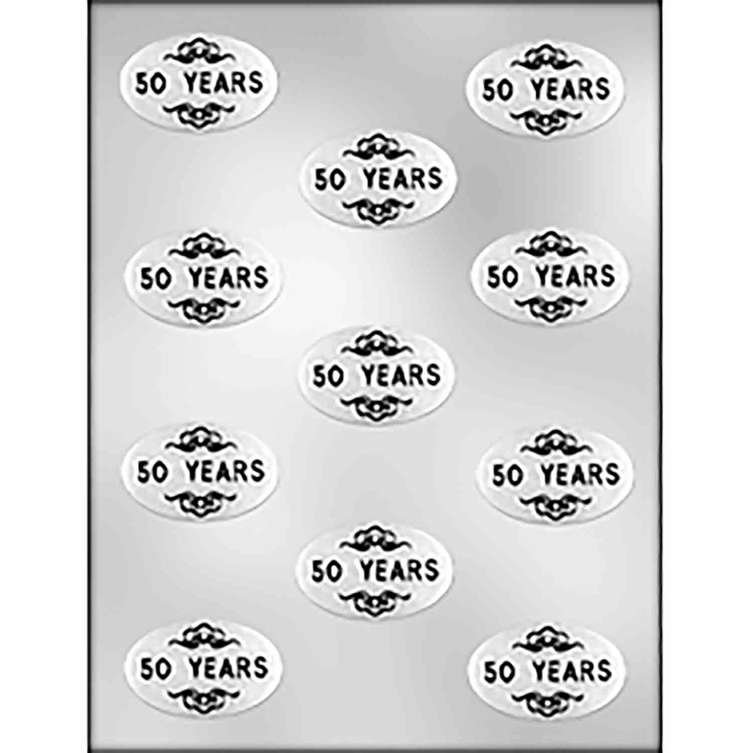 """50 YEARS"" on Oval Chocolate Candy Mold"
