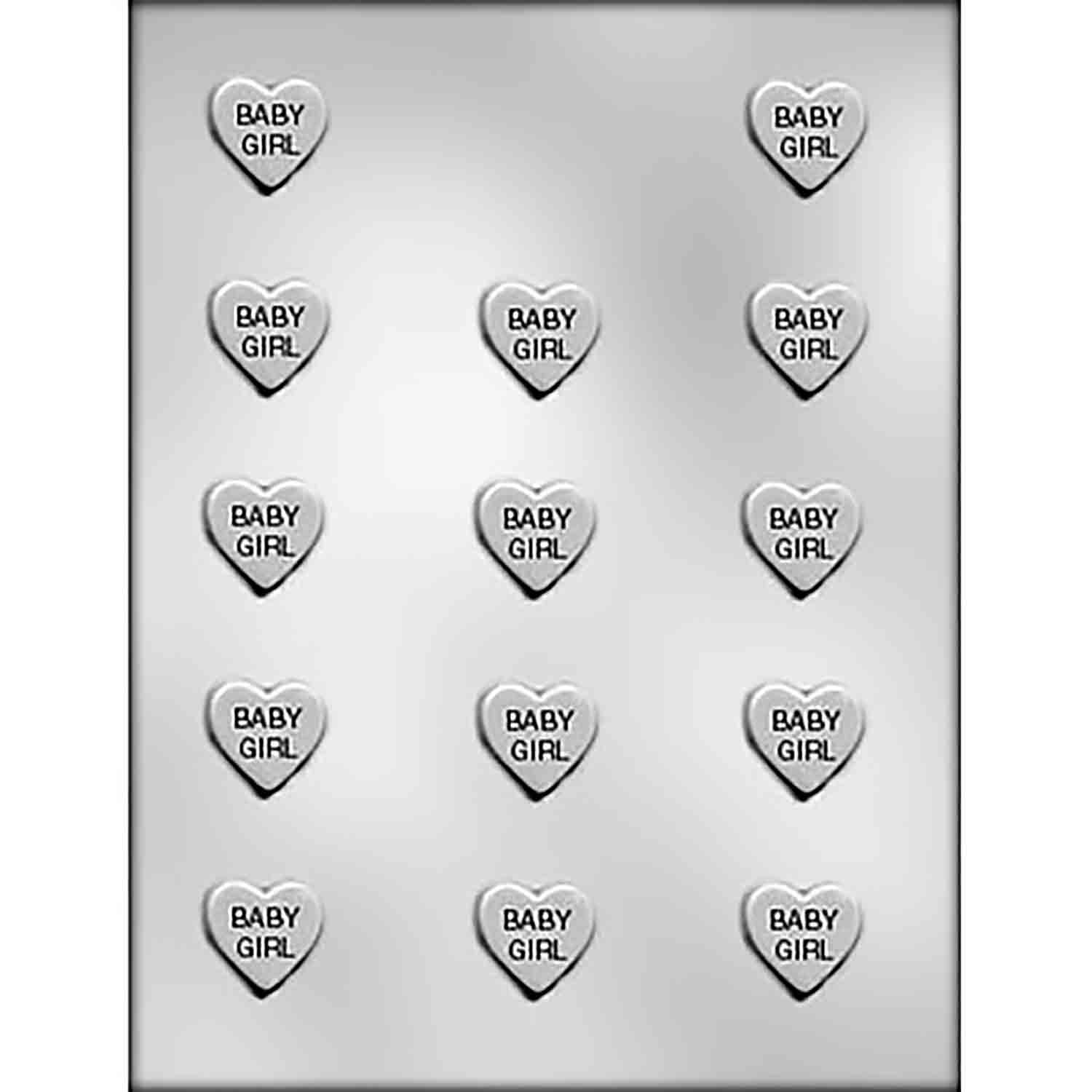 """BABY GIRL"" on Heart Chocolate Candy Mold"