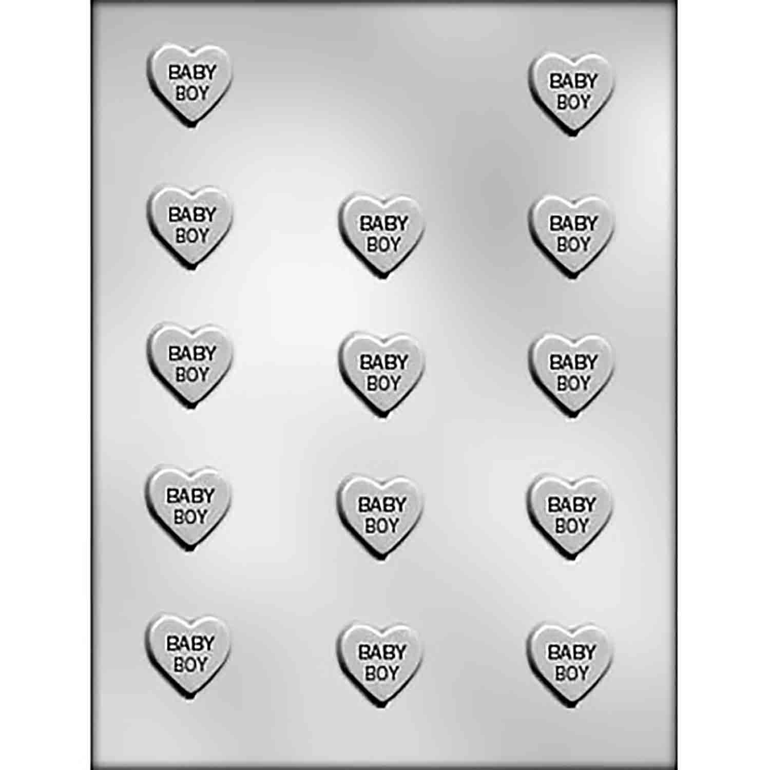 """BABY BOY"" on Heart Chocolate Candy Mold"
