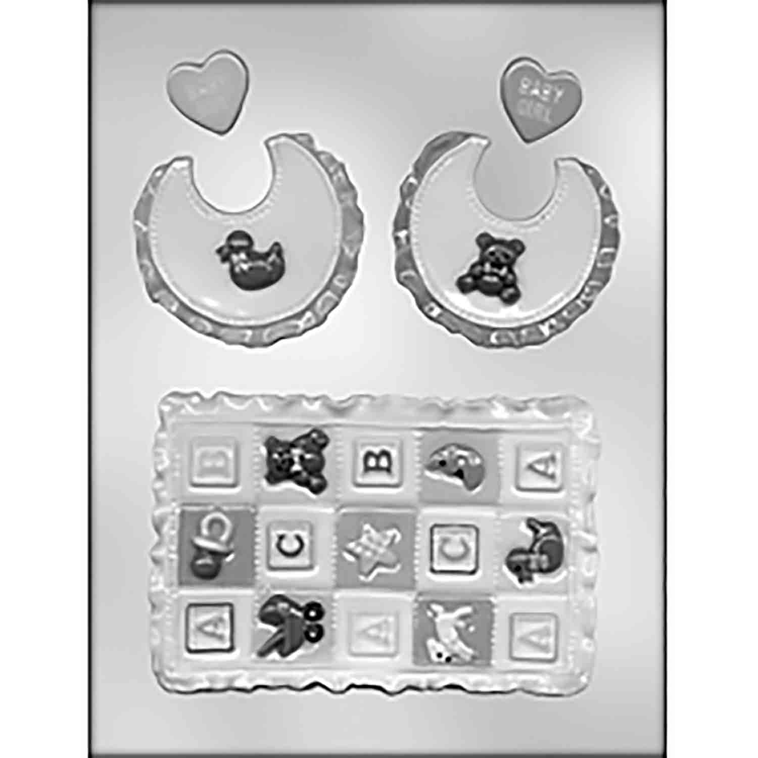 Baby Quilt & Bib Chocolate Candy Mold