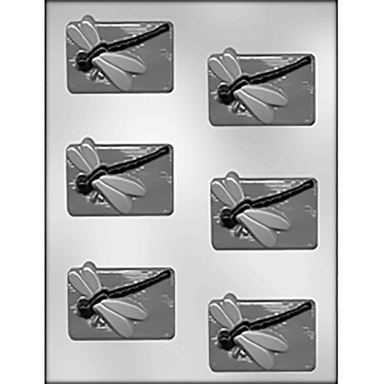 Dragonfly on Rectangle Chocolate Candy Mold