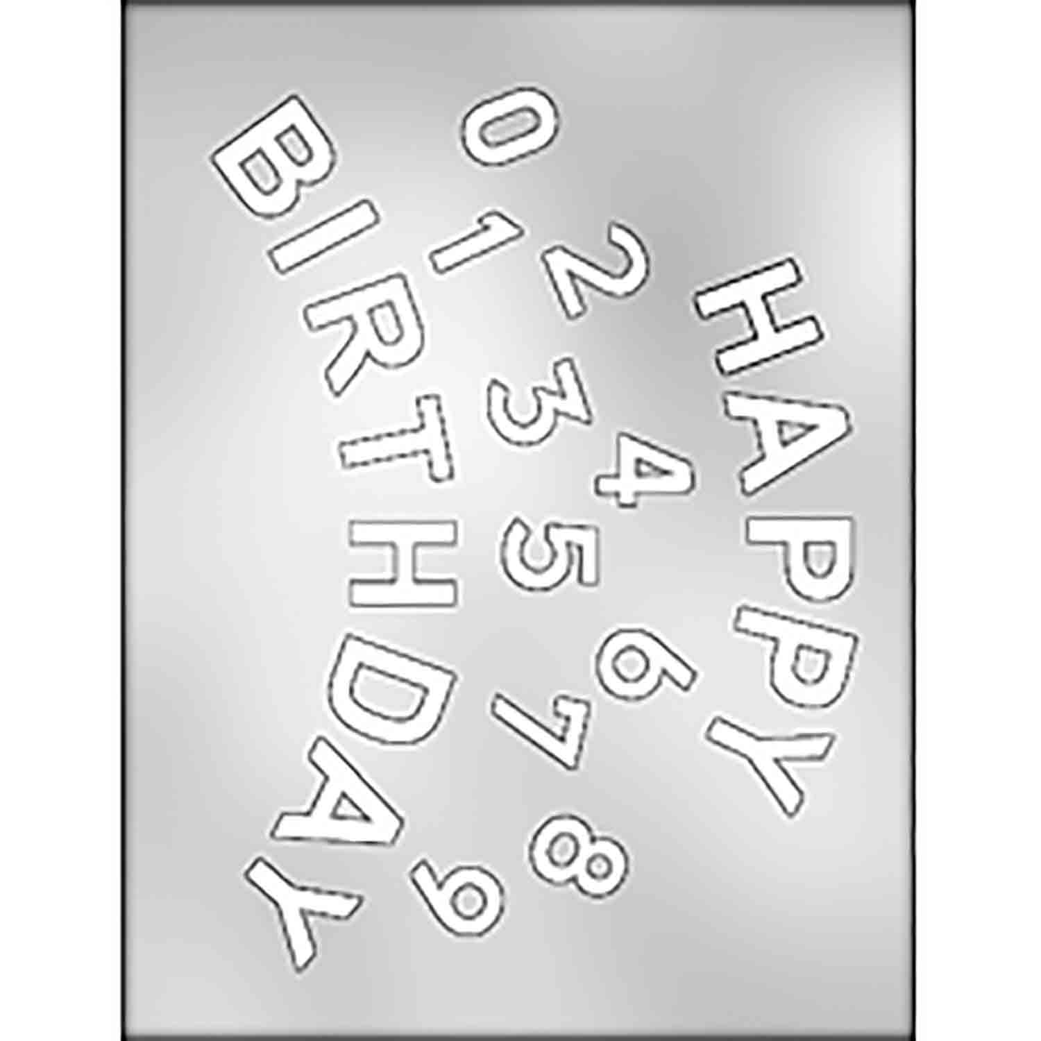 Happy Birthday with Numbers Chocolate Candy Mold