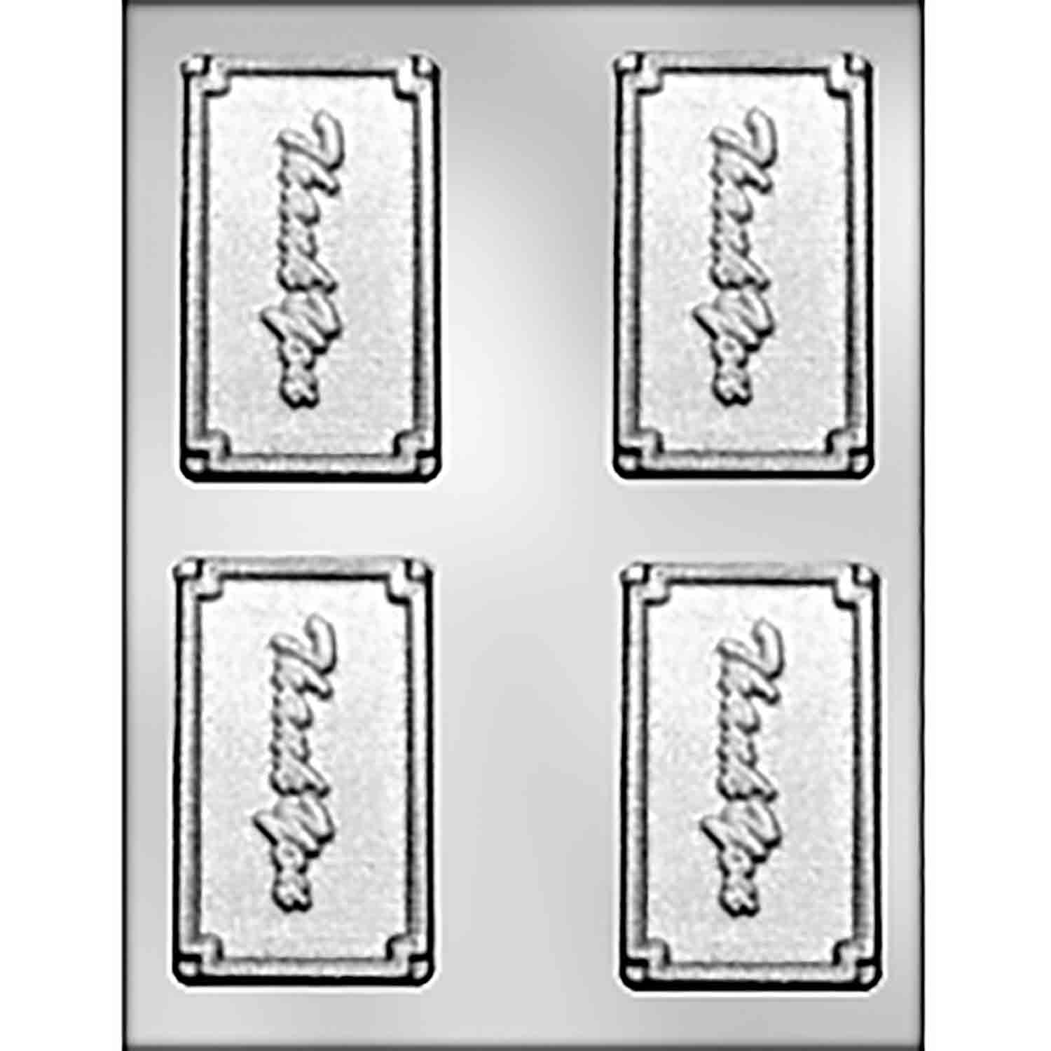 "Script ""THANK YOU"" Business Card Candy Mold"