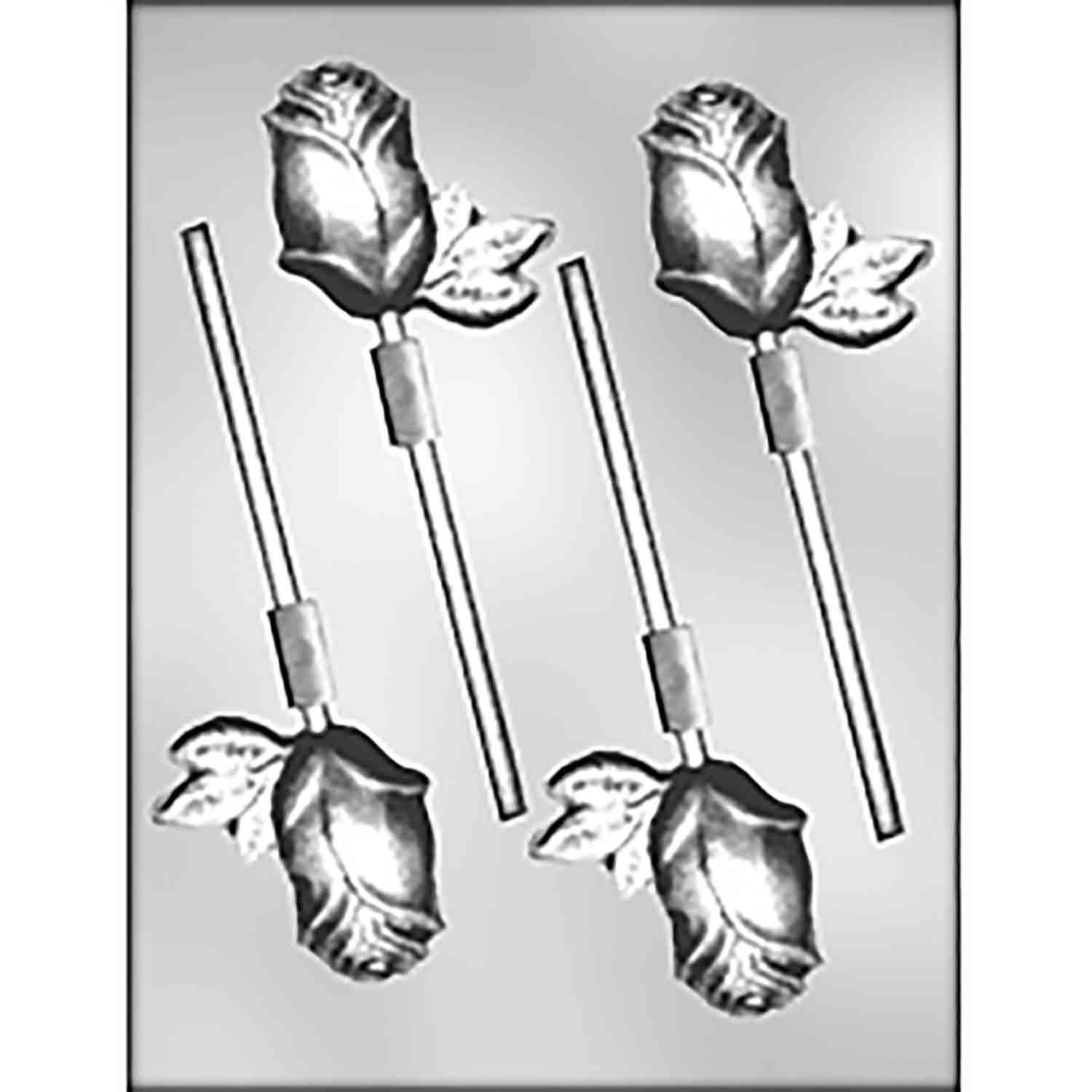 Long Stemmed Rose Sucker Chocolate Candy Mold