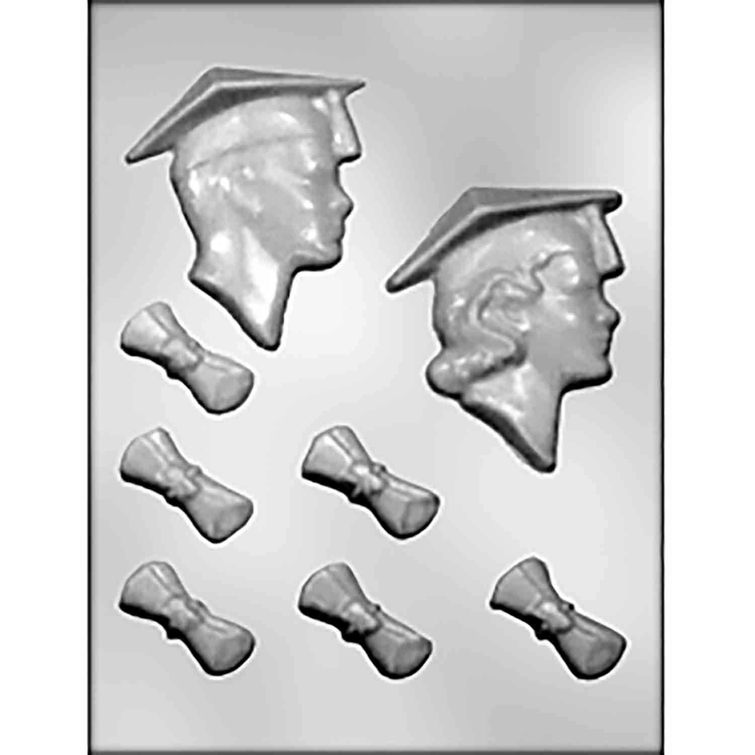 Graduate Boy/Girl Head & Diplomas Candy Mold