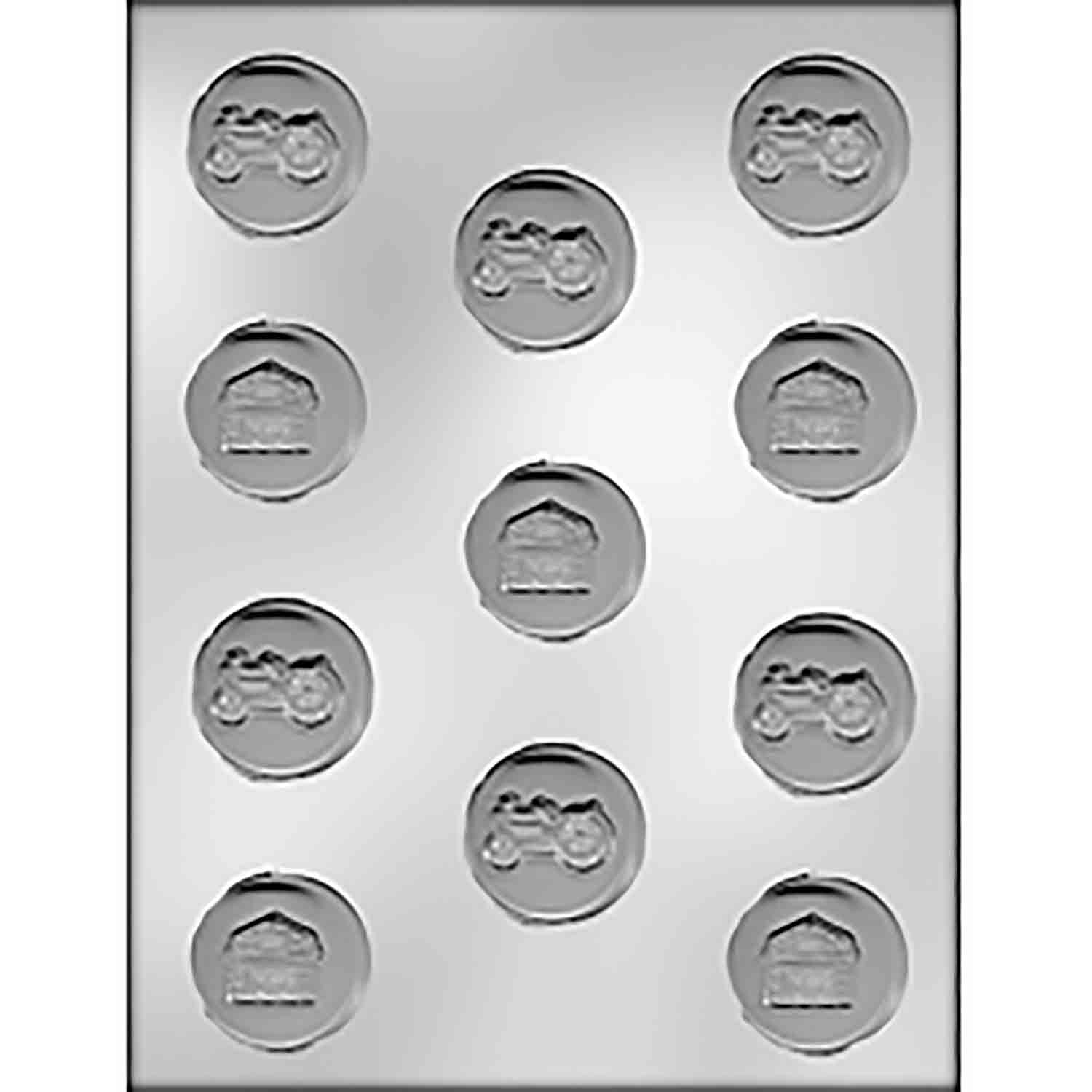 Tractor/Barn on Circle Chocolate Candy Mold