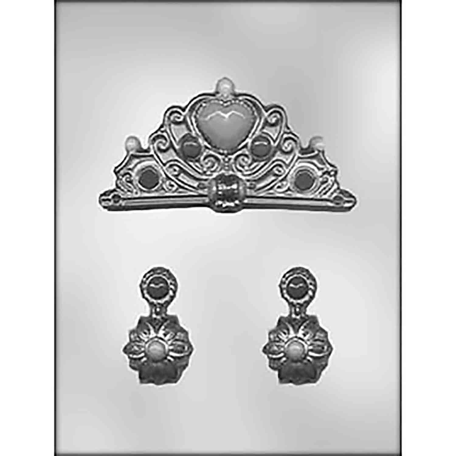 Crown and Earrings Chocolate Candy Mold