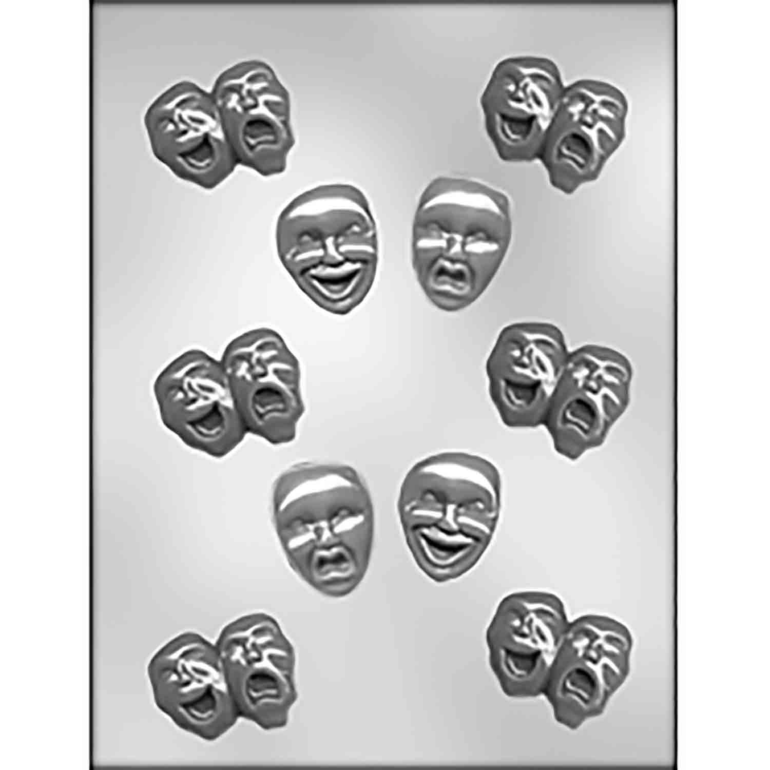Comedy & Tragedy Faces Chocolate Candy Mold