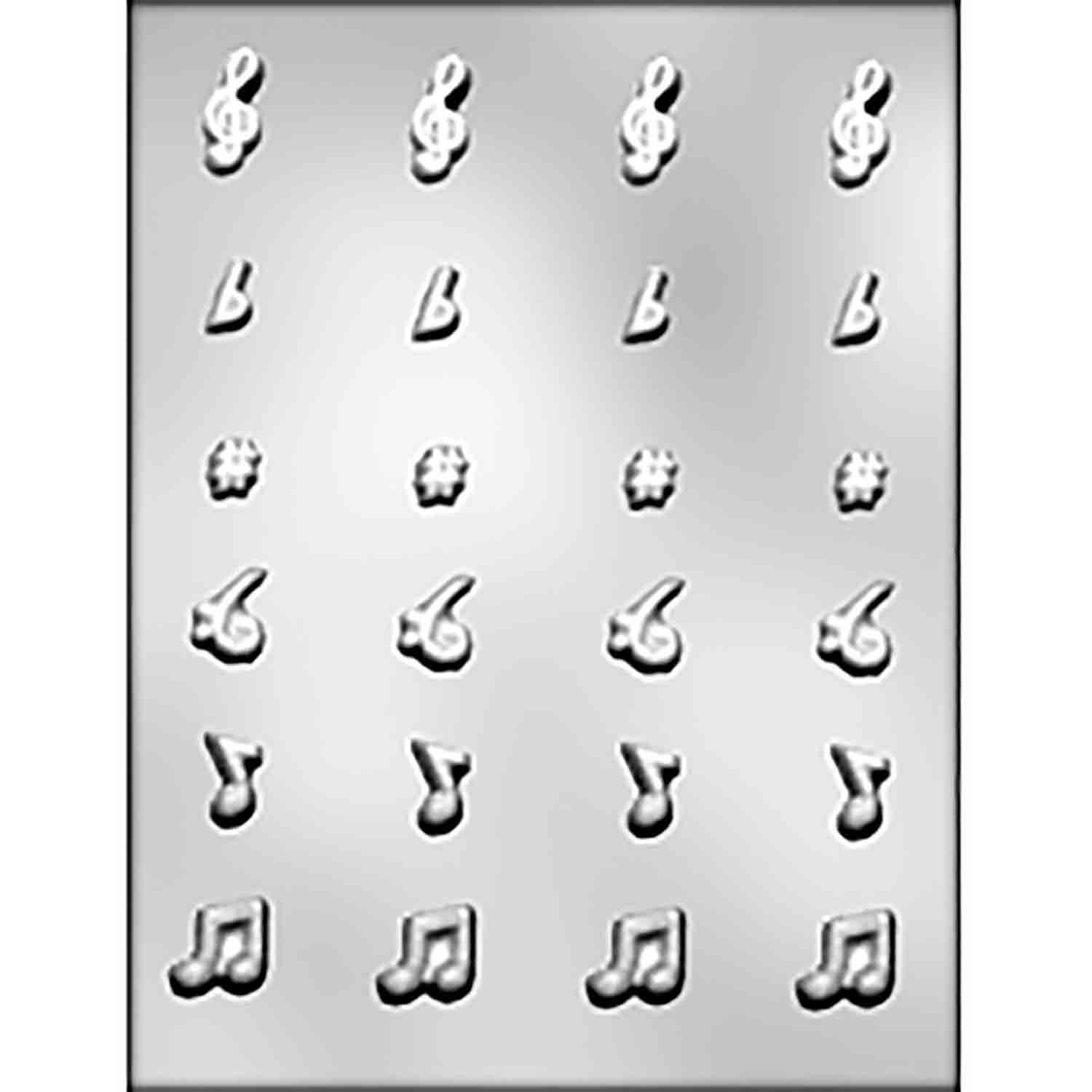 Small Music Notes & Symbols Chocolate Candy Mold