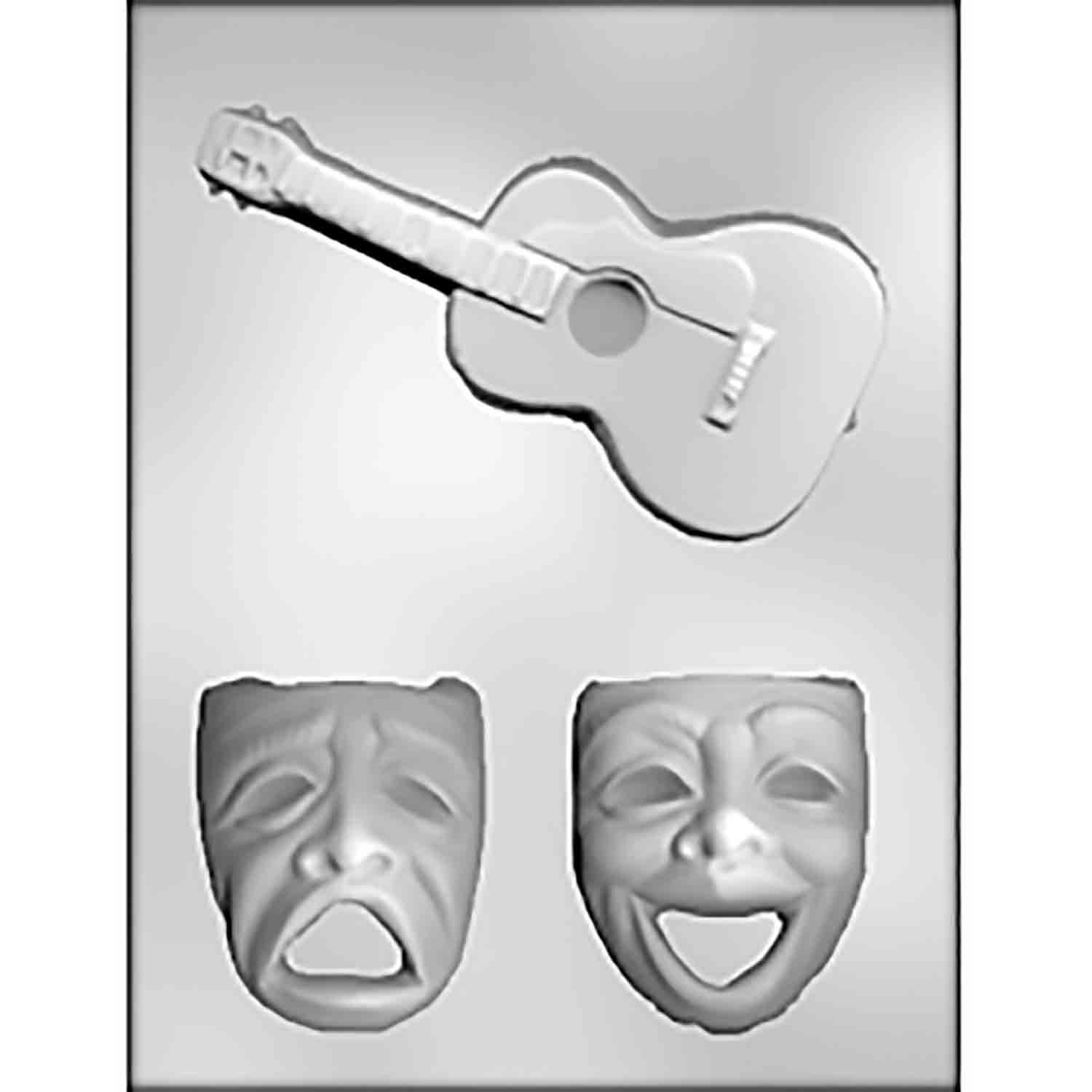 Large Comedy/Tragedy Faces & Guitars Candy Mold