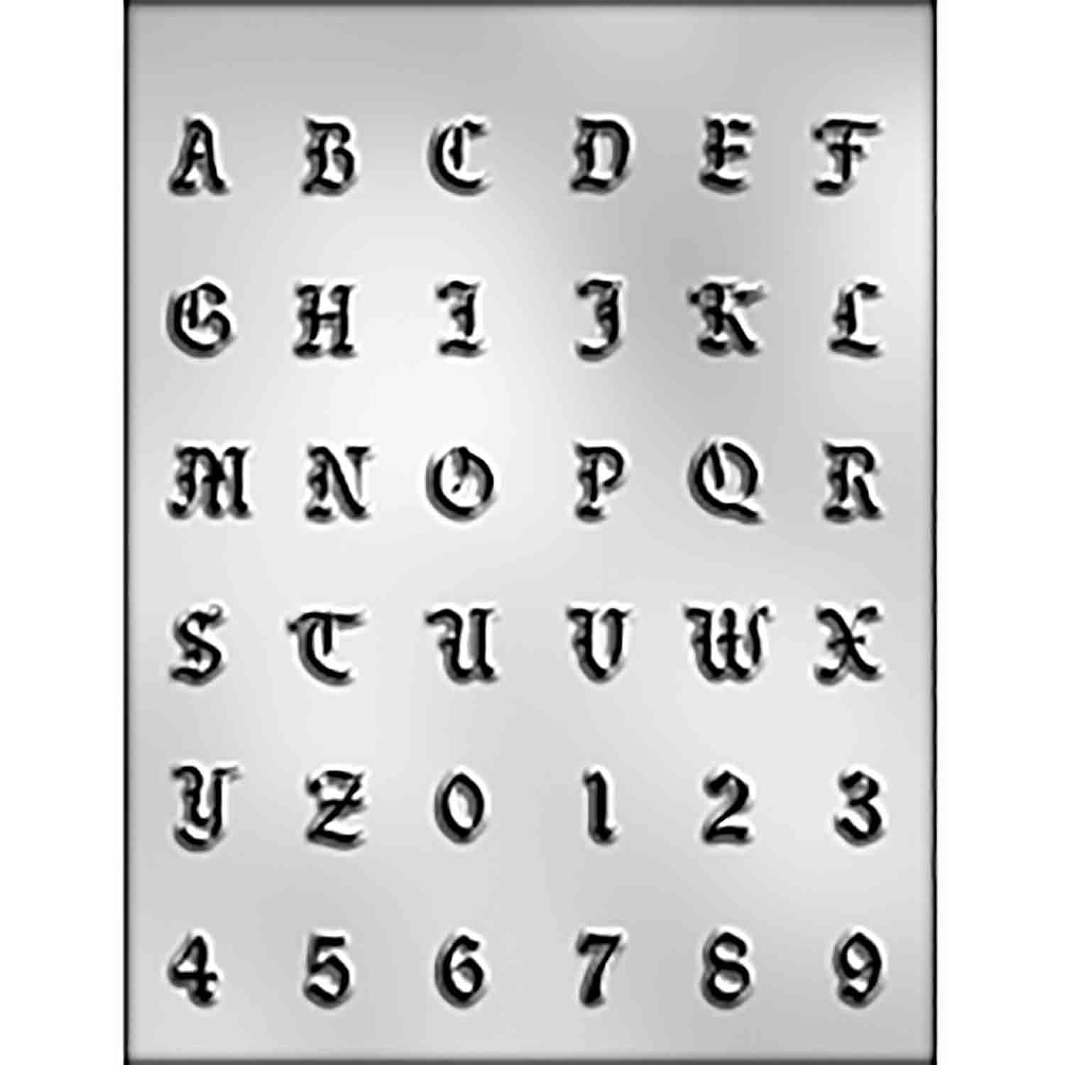 Calligraphy Letters & Numbers Chocolate Candy Mold