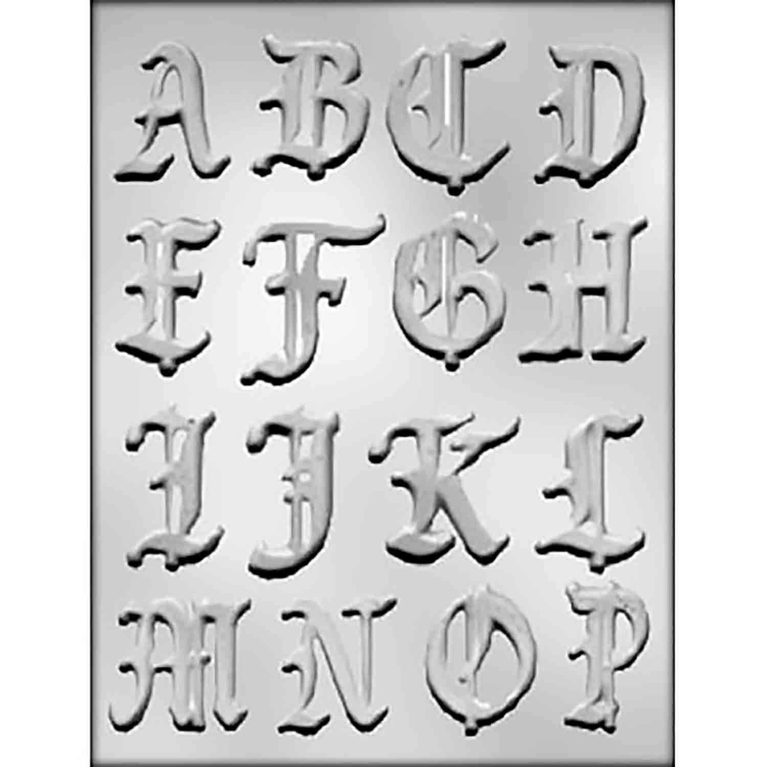Calligraphy Alphabet A-P Chocolate Candy Mold