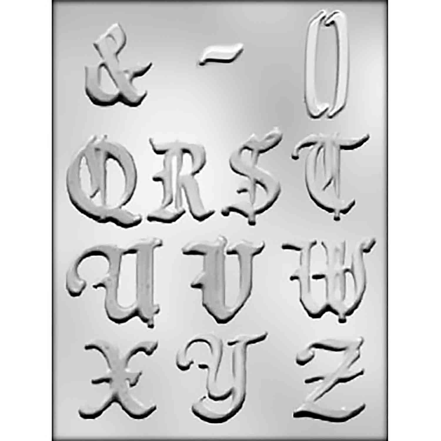 Calligraphy Alphabet Q-Z Chocolate Candy Mold