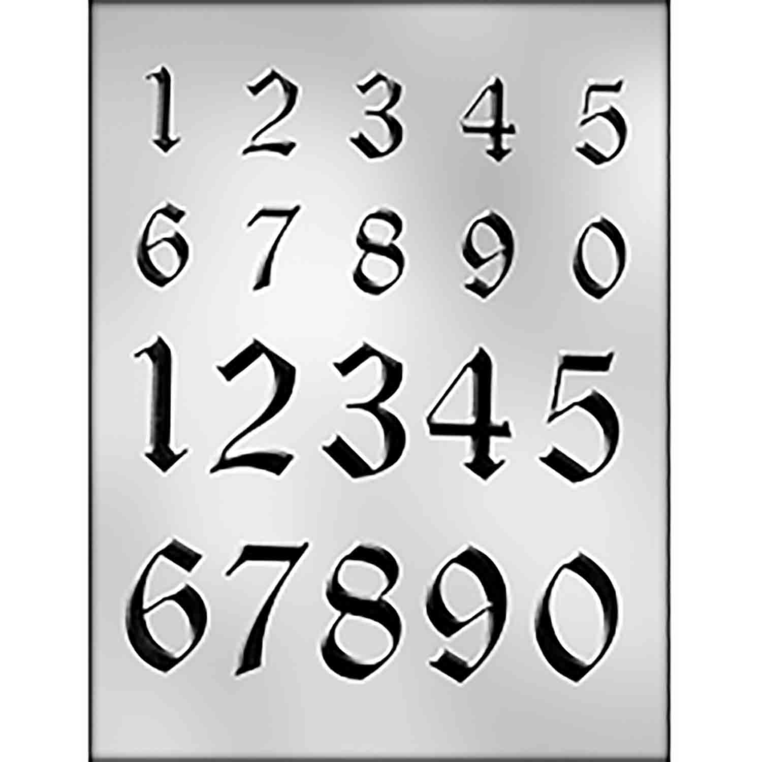 Calligraphy Numbers (2 Sizes) Chocolate Candy Mold