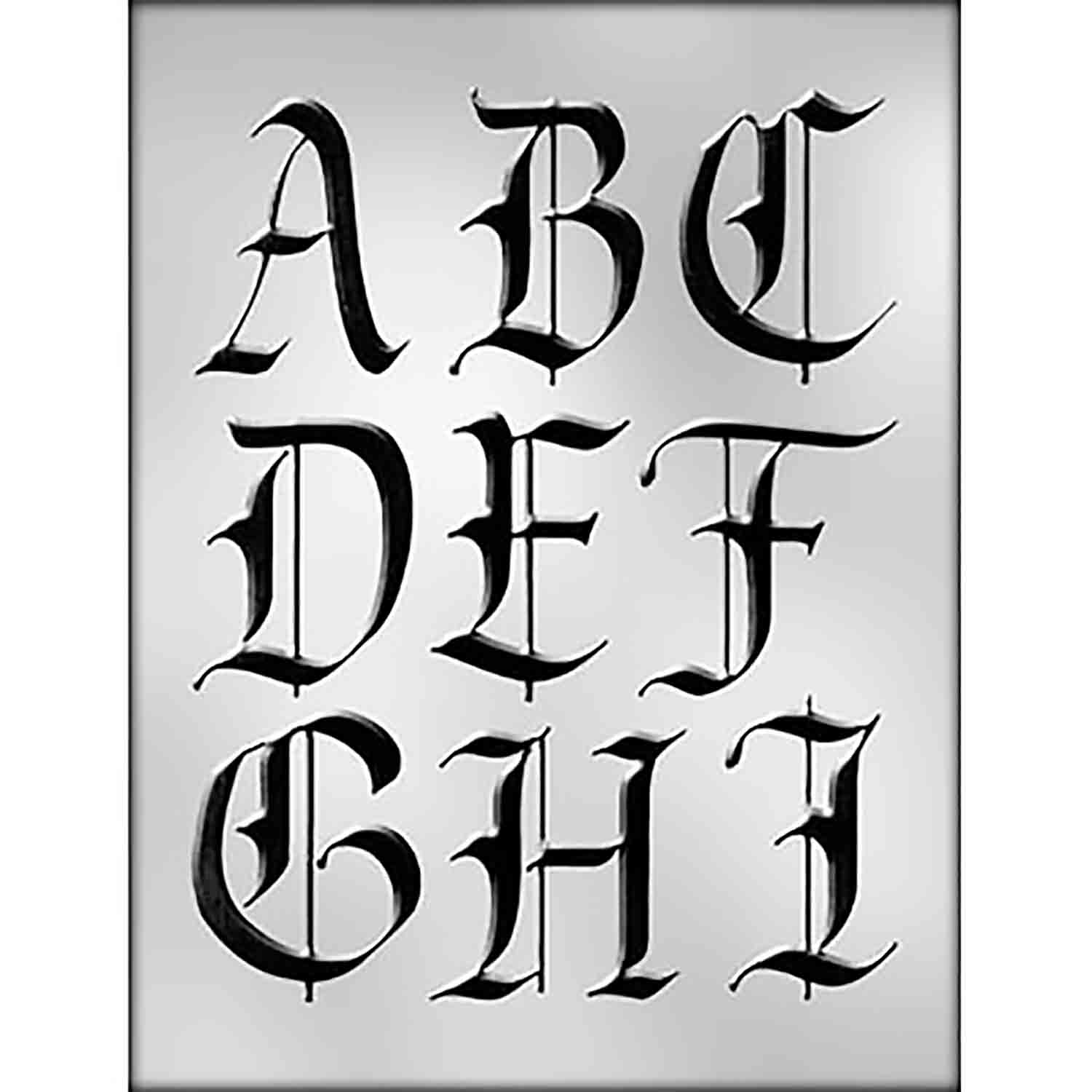 Calligraphy Alphabet A-I Chocolate Candy Mold