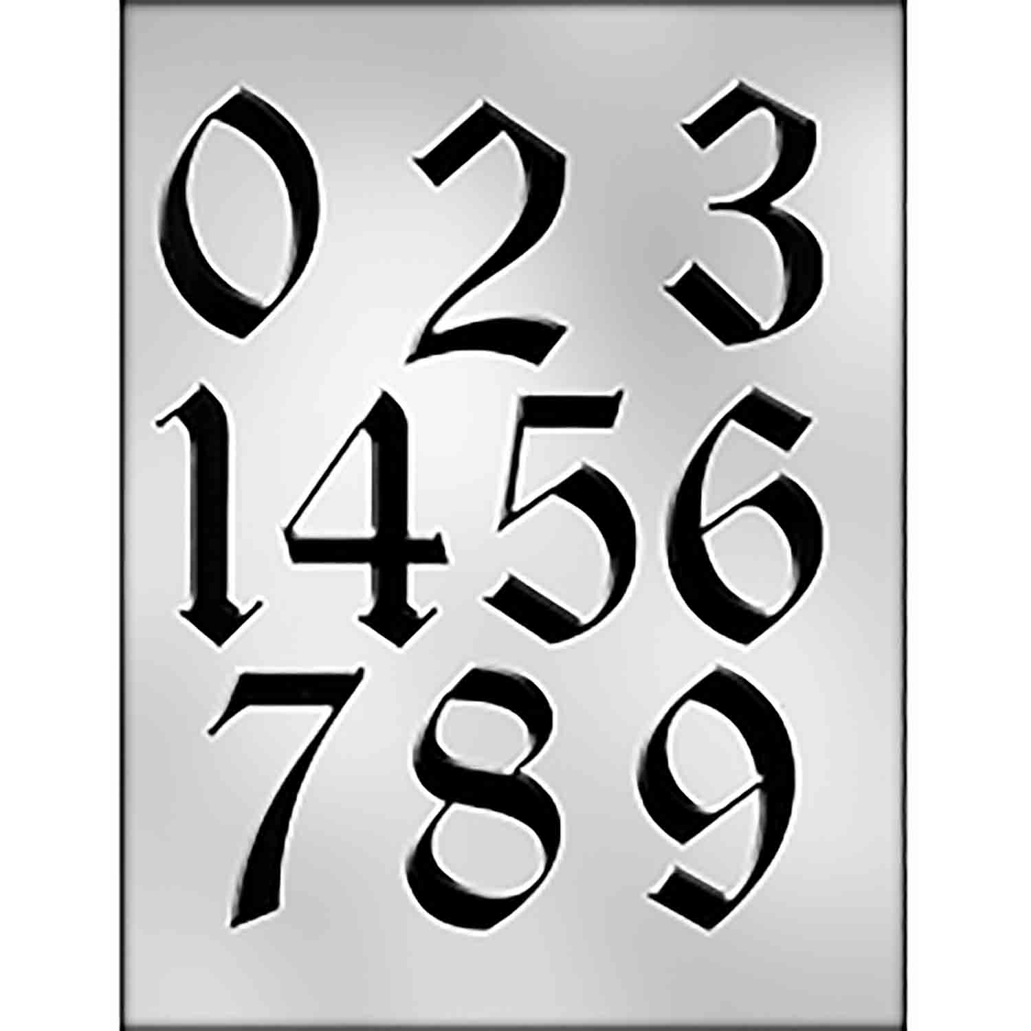 Large Calligraphy Numbers Chocolate Candy Mold 90 14277