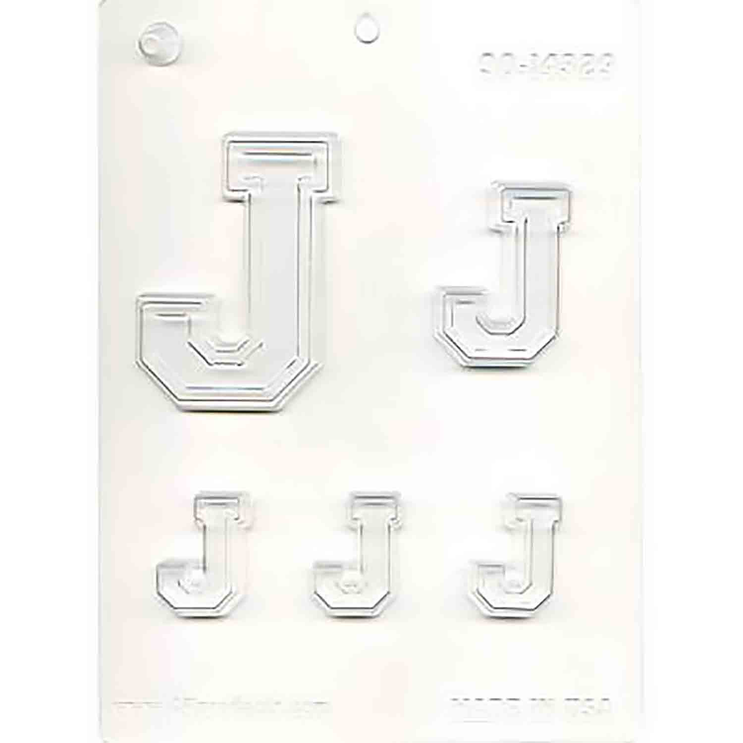 Collegiate Letter J Chocolate Candy Mold
