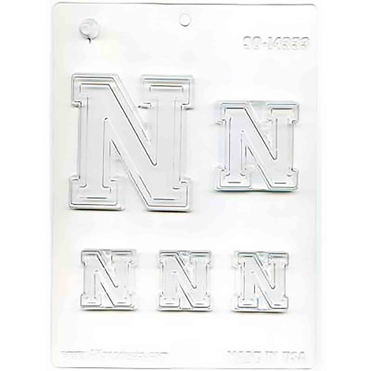 Collegiate Letter N Chocolate Candy Mold