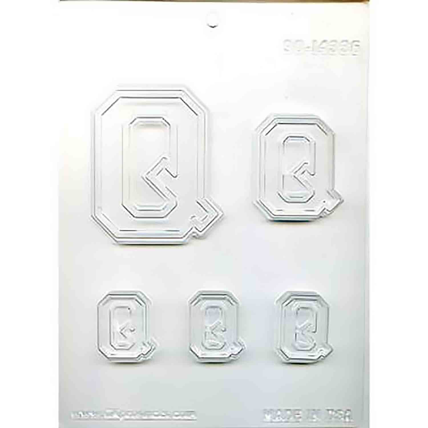 Collegiate Letter Q Chocolate Candy Mold
