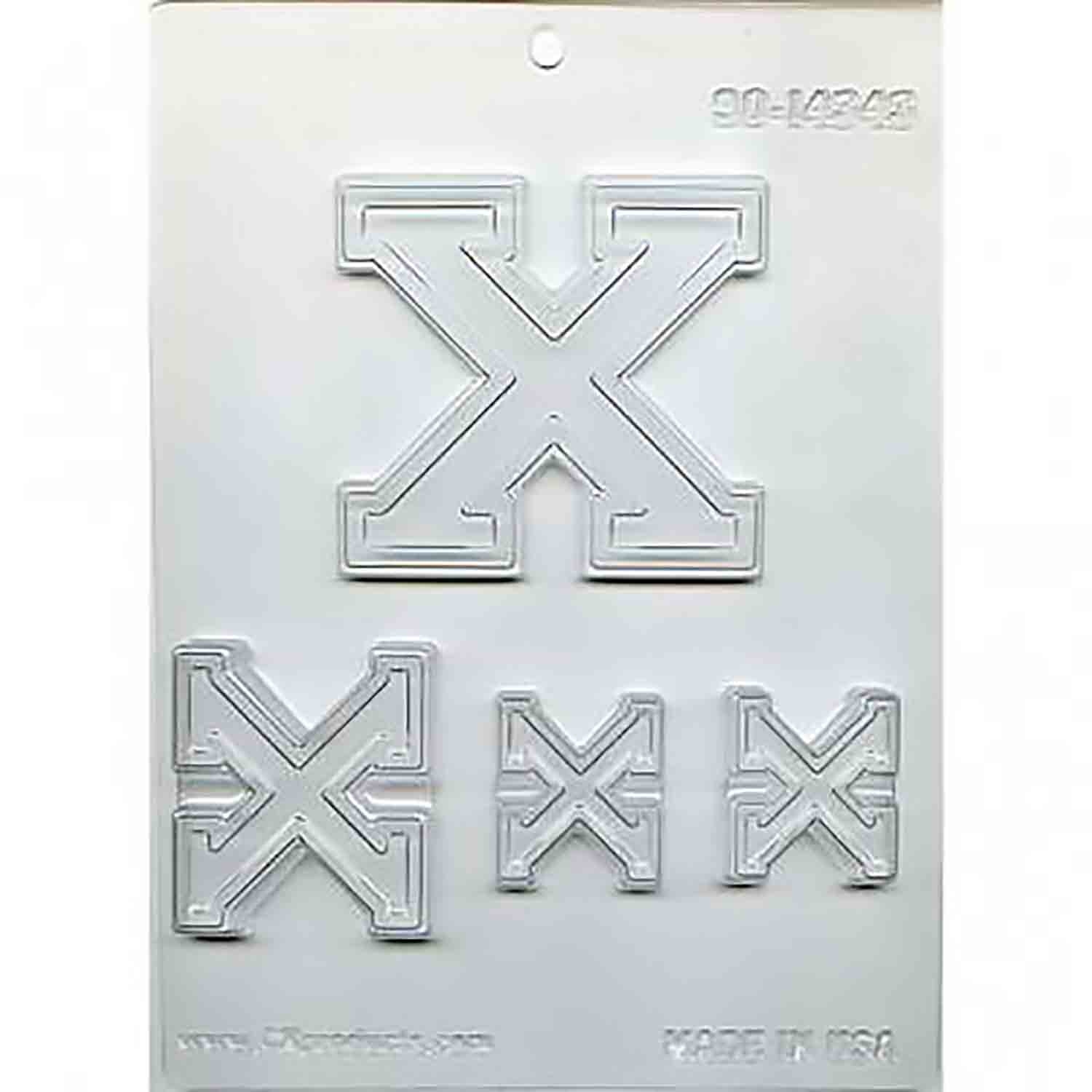 Collegiate Letter X Chocolate Candy Mold