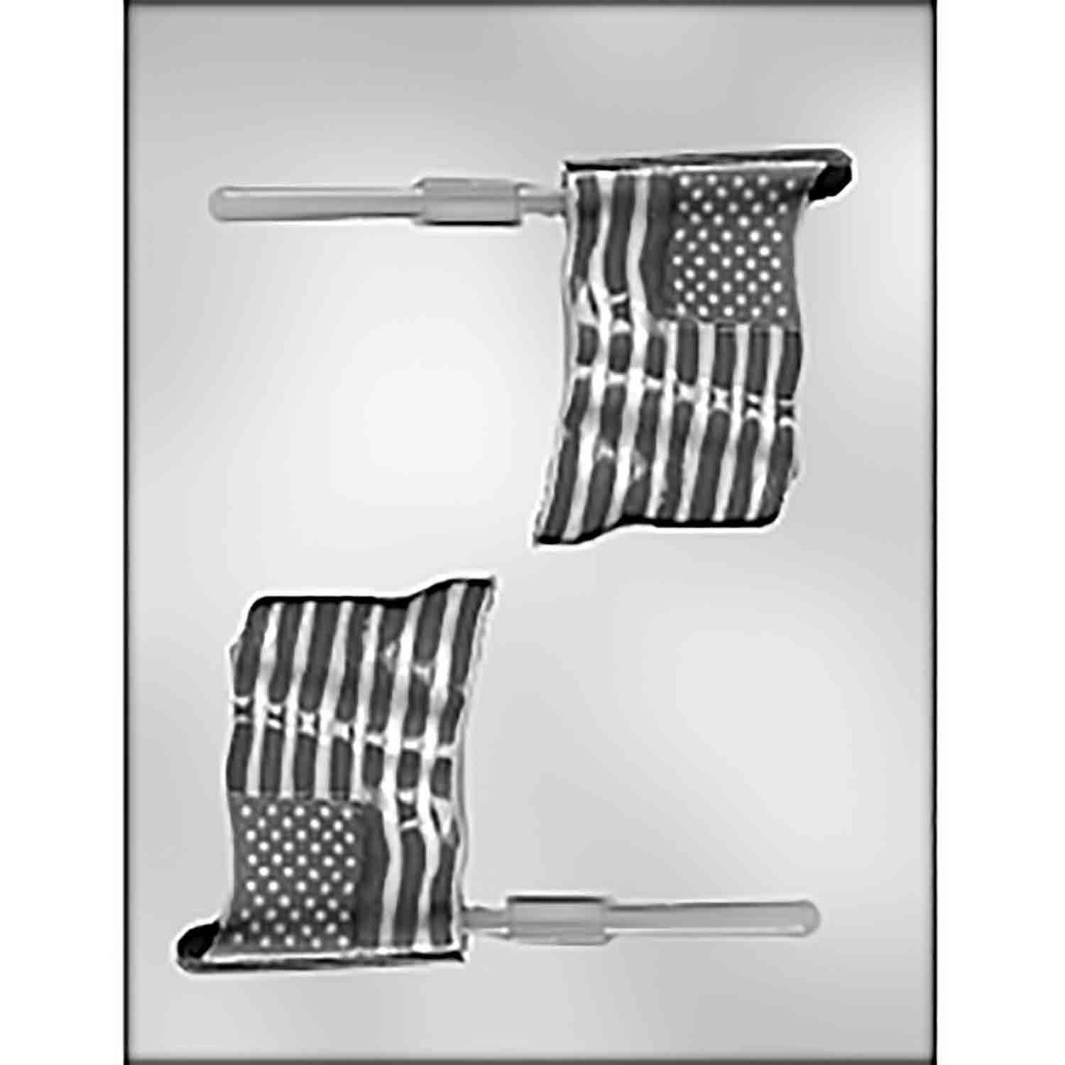 Large American Flag Sucker Chocolate Candy Mold