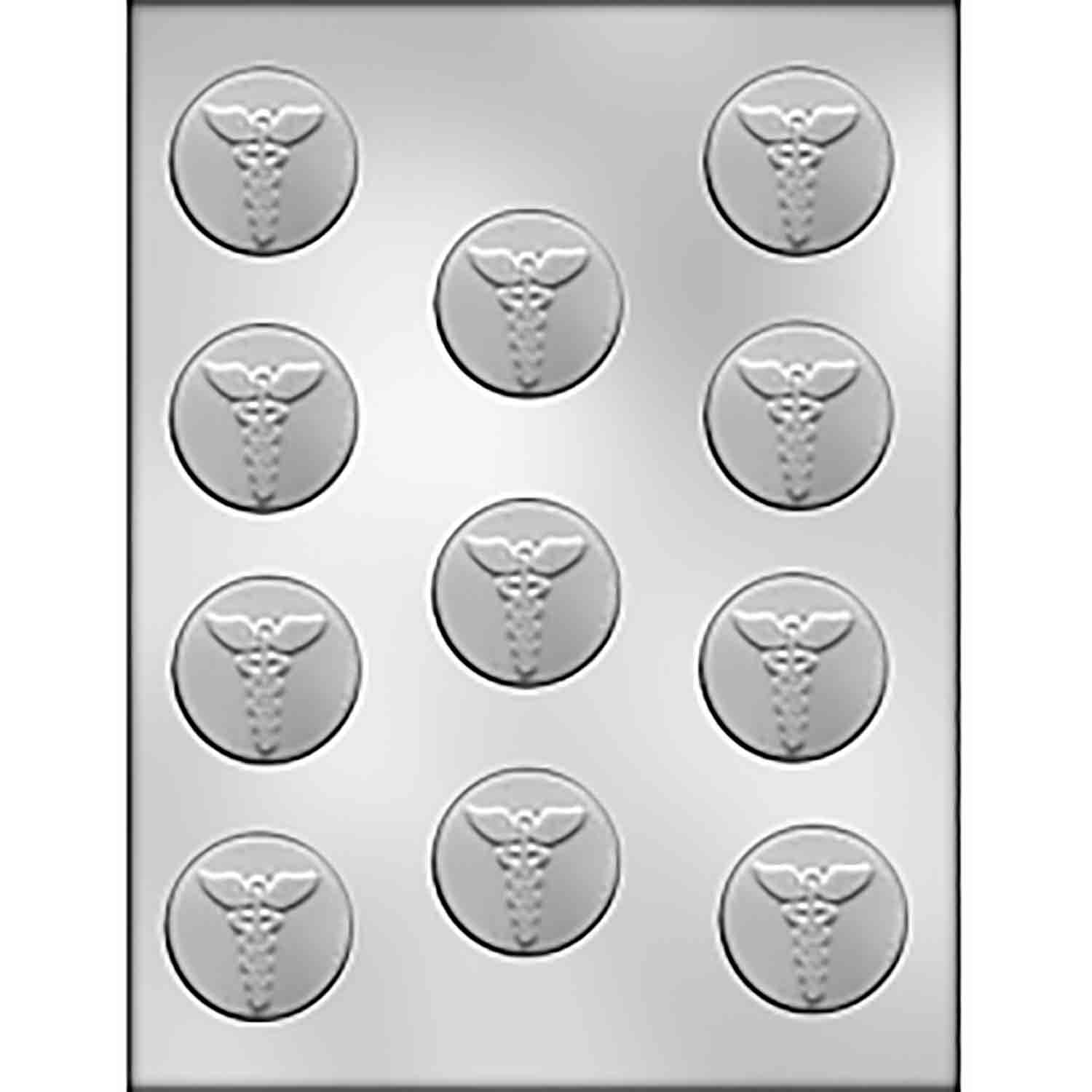 Medical Caduceus On Circle Chocolate Candy Mold