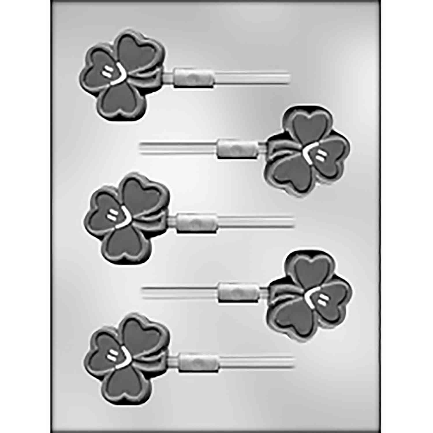 Smiley Shamrock Sucker Chocolate Candy Mold