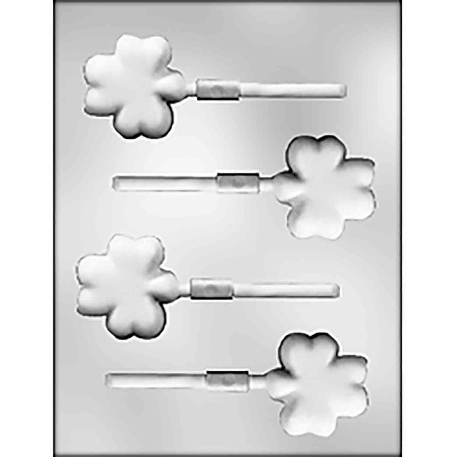 Thick Shamrock Sucker Chocolate Candy Mold