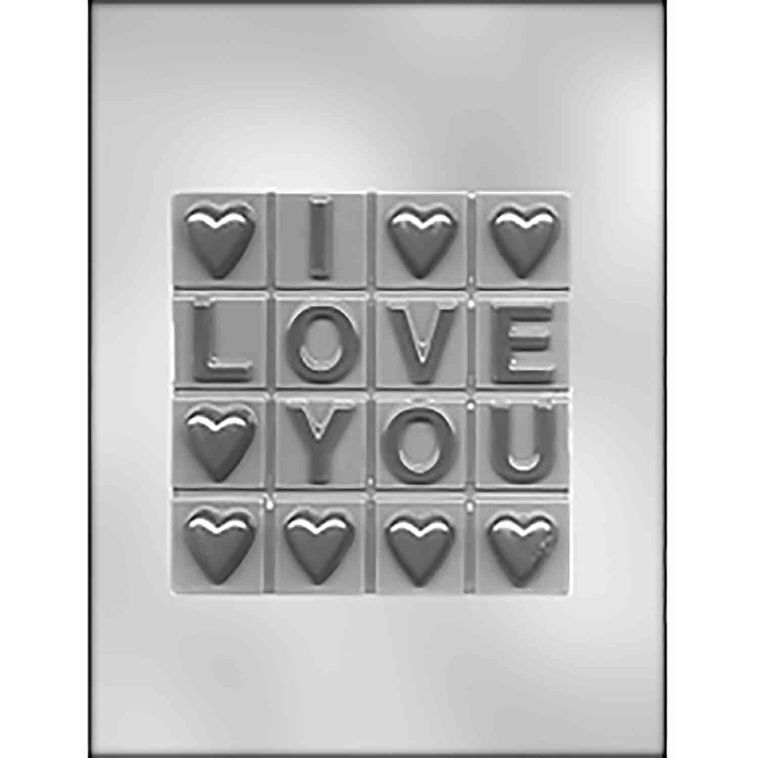 """I LOVE YOU"" w/ Break-Up Bar Chocolate Candy Mold"